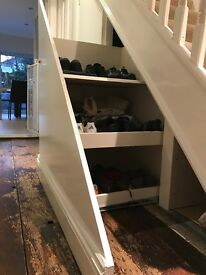 Pull out storage unit for under stairs