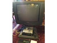 """Philips 24"""" CRT TV with stand , talktalk box , dvd player and cables"""