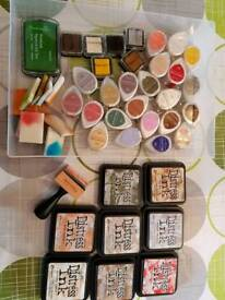 Selection of inks and stamps