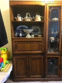 Solid, real wood, display cabinet.