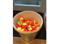Tennis balls - NEW, mini-orange tennis balls - total 82