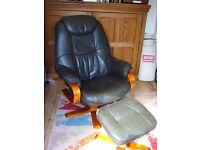 Dark Brown Swivel Leather Recliner with matching Footstool