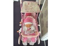 BABY ANNABELL DOLLS DOUBLE PUSHCHAIR