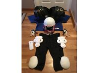 AMERICAN FOOTBALL HELMET with FULL GAME KIT(EXCEPT THIGH PADS) - ALL VERY GOOD CONDITION
