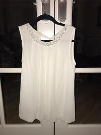 White Top with Embellished Neckline