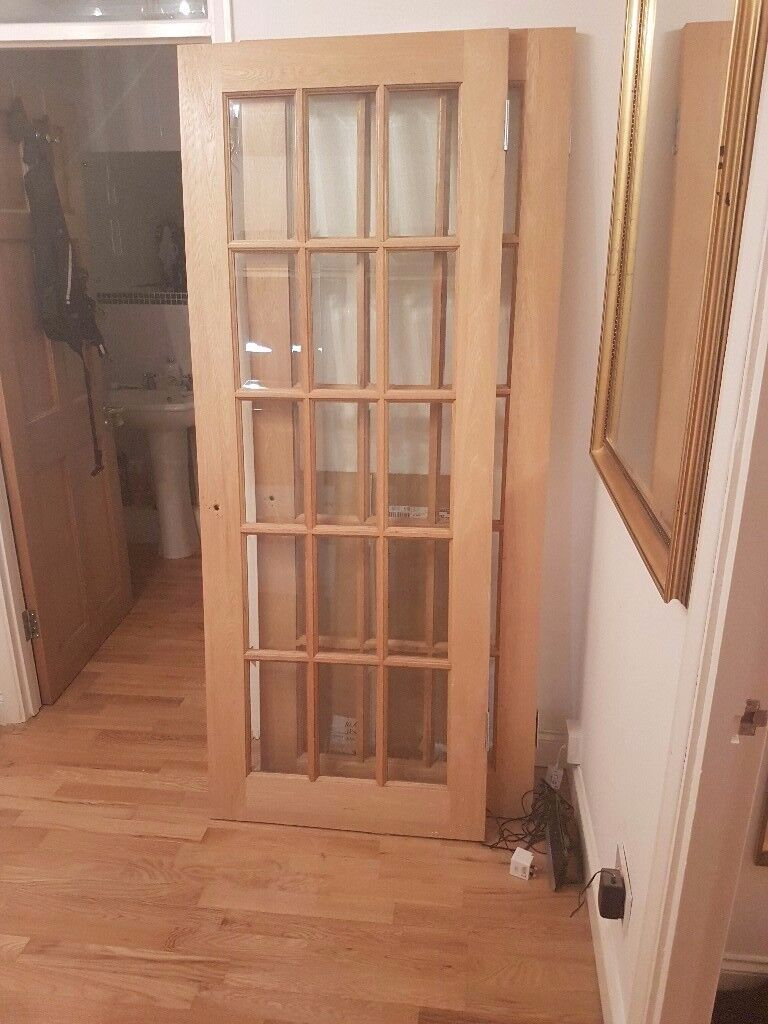 Two Matching Solid Oak Internal Glass Panel Doors For Sale In