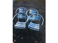 Aluminium Chairs. Set of 4. Stackable