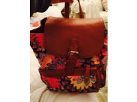 Girls leather flowery backpack