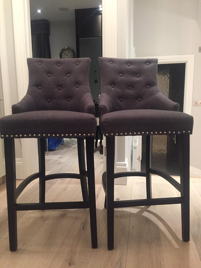 LUXURY BAR STOOLS IN GREY WITH BIDDING AND BACK RING - PAIR