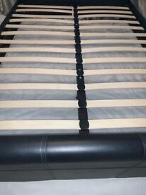 Black double leather bed frame and mattress in excellent condition