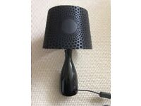 """Black tablelamp 16"""" high with velour shade"""