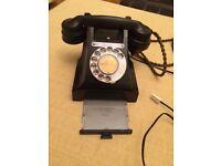 Fantastic vintage black Bakelite phone - with BT connector - excellent condition