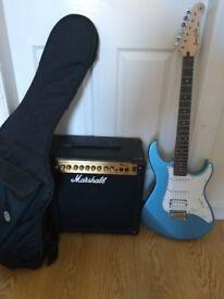 Yamaha Pacifica guitar and Marshall MG30dfx amp (great starter set)