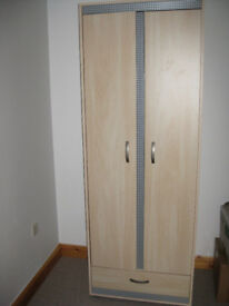 WARDROBE hanging rail and drawer pale wood effect