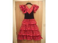 Flamenco dressing up dress, age 8-9