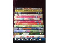Selection of children's DVDs.