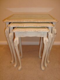 Shabby Chic stencilled Nest of 3 glass topped tables painted in Annie Sloan chalk paint