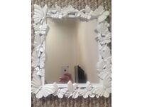 White butterfly frame mirror