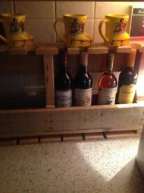 Wooden pallet wine and glass holder
