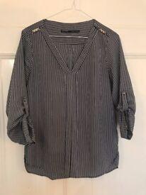 Zara Shirt, navy white stripes, Size XS