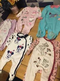 Disney baby girls sleepsuits 0-3 months
