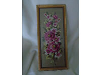 VINTAGE HAND SEWN EMBROIDERED TAPESTRY PINK WHITE FLORAL PICTURE FRAMED