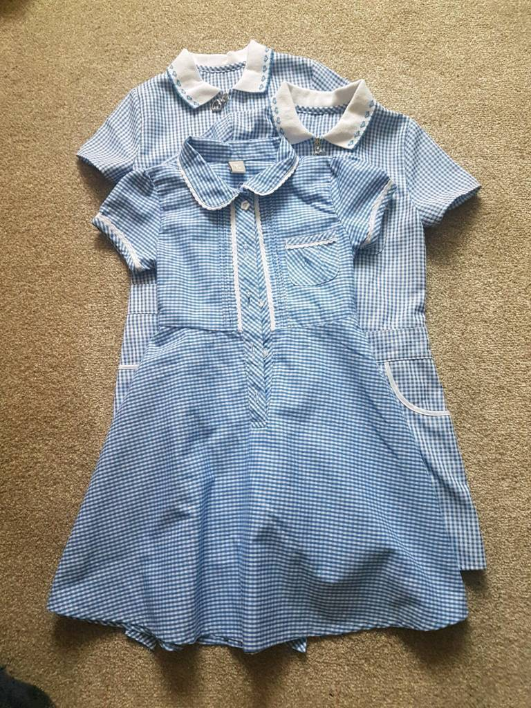 Bundle of 3 girls school dresses blue and white check gingham 4 - 5 years