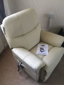 Brand new cream leather rise and fall recliner chair