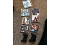 PS3 PlayStation 3 slim with 2 controllers,and 7 games