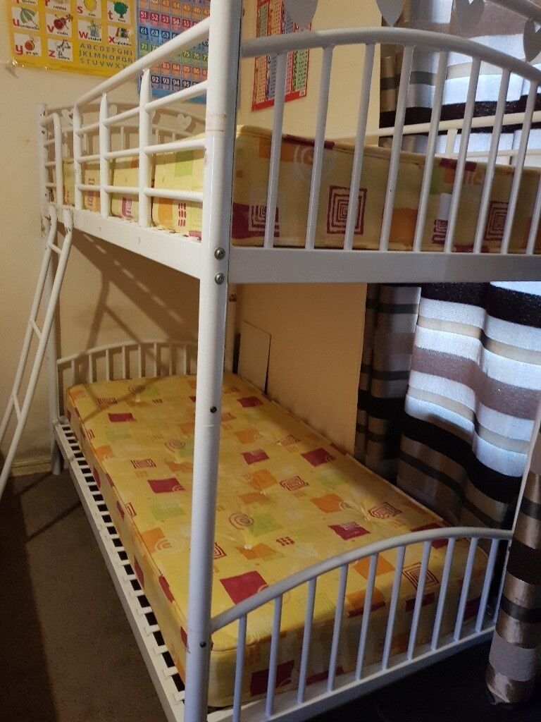 Used Bunk Bed Frame With Two Mattress Clean Mattress And Also