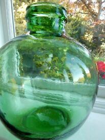 VINTAGE VIRESA GREEN GLASS CARBOY TERRARIUM