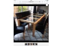 Bespoke made to measure oak/glass dining table+10 chairs
