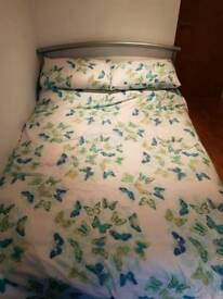 Silver Double bed and mattress