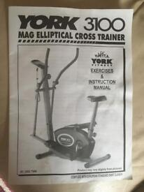 York 3100 Mag Elliptical Cross Trainer with instruction manual