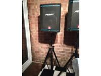 Peavey speakers, stands and Spirit Powered mixing desk. Ideal for karaoke