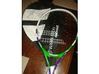 Wimbledon Tennis racket with signed cover