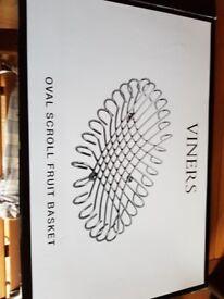 Oval Scroll metal fruit basket