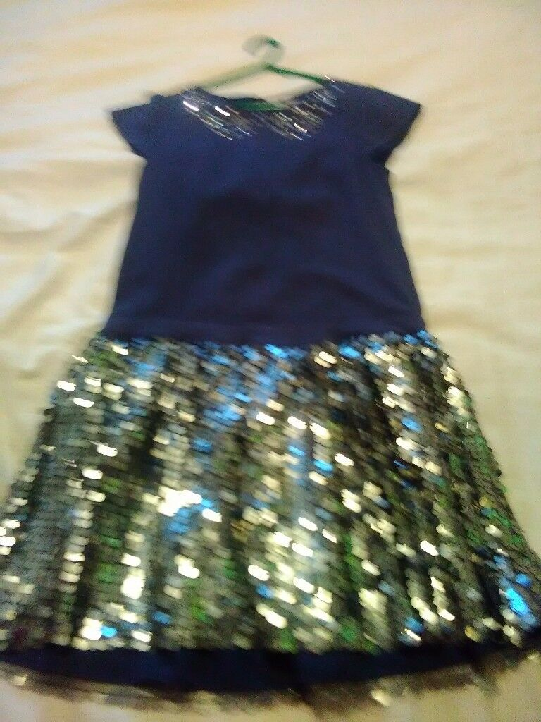 John lewis navy blue sequence party dress size 9 years