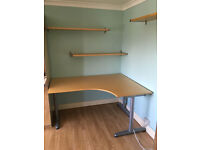 Ikea Gallant Birch large corner computer office work desk table with extension