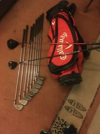 Cobra F Speed Driver, Taylormade 3 Wood Burner, Cobra Irons 5-S (8 Irons) & Callaway Stand Bag.
