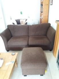 3 Piece Suite. Chocolate brown with a footstool