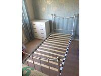 White metal single b d frame with mattress