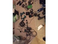 11 Various Drills (Makita etc) 1 industrial & 1 power saw. 6 Chargers.