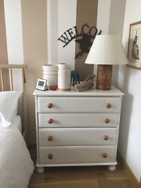 WHITE SOLID PINE CHEST OF DRAWS WITH CONTRASTING WOODEN HANDLES, LOVELY
