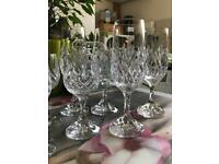Set of 8 crystal wine glasses