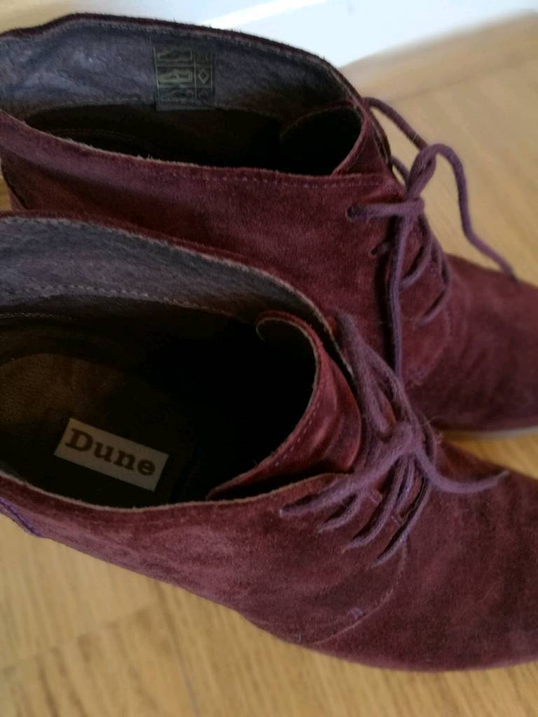 Dune 5(38) wedge leather/suede ankle boots
