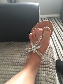 ladies new look size 6 silver sparkle sandals worn once but not ideal for me