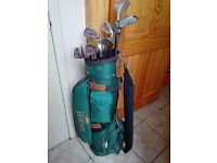 Set of Mens Howson golf clubs, bag and trolley