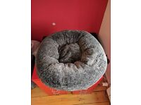 Pets at Home Crushed Plush Cat Snuggle Bed Grey