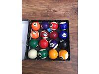 Set of American style pool balls
